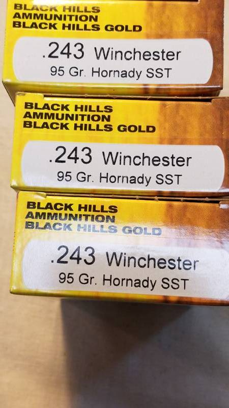 Ammo 3 Boxes of  243 Win with Hornady 95gr SST Bullets by